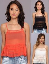 Free People Lace Cami Tank Top * 3 Colors * Tiered Ruffle Sheer Chiffon F743E862