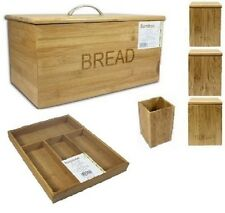 NEW BAMBOO WOOD BREAD BIN STRONG CUTLERY TRAY FOR UTENSILS STORAGE PURPOSE