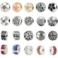 Crystal Stopper Clip Authentic 925 Sterling Silver European Bead Charm Bracelet