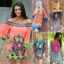 Women Oversized Batwing Off Shoulder Tunic Dress Boho Floral Gypsy Loose Blouses