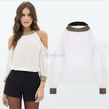 Sexy Women Slim Off Shoulder Blouse Lady Long Sleeve Stretch T-Shirt Solid Tops