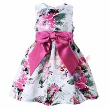 Girls Flower Dress Kids Sleeveless Bow Party Princess Holiday Casual Dresses