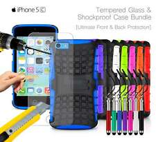 Apple iPhone 5C - Shockproof Grip Case Cover, Ret Pen & Tempered GLASS