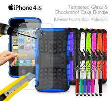 Apple iPhone 4S - Shockproof Grip Case Cover, Ret Pen & Tempered GLASS