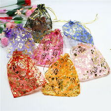 100 Golden Glitter Rose Organza Wedding Favours Gift Bags Jewellery Pouch 4 Size