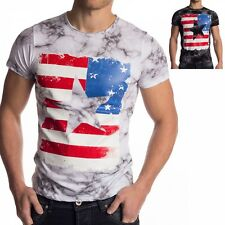 Mens Vintage T-Shirt America Flag USA short sleeve shirt US black white stars