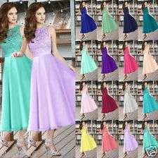 New lace & chiffon Tea Length Bridesmaid Dresses Prom evening dress size 6++++18