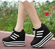 Hot Womens Lace Up High Platform Concealed Striped Wedge Sneakers Trainers Shoes