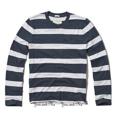 NEW ABERCROMBIE & FITCH for MEN A&F Panther Gorge L/S Tee * Navy Stripe * S M L