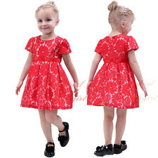 Girls Floral Lace Party Dress 2016 Summer Holiday Wedding Princess Christening