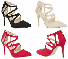 Womens Ladies Sexy High Heels Pointy Stiletto Shoes Trendy Cut Out Back Zip 3-8
