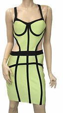 NEW WOMENS SUPERSTAR HOLLYWOOD CELEBRITY LIME GREEN RAYON BODYCON BANDAGE DRESS