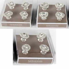1-4 pcs Diamante Crystal Glass Clear Door Knobs Drawer Cabinet Kitchen Handle