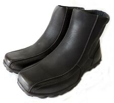 New MENS FASHION ANKLE BOOTS ZIPPERED CASUAL FULL FAUX FUR SHOES PULL ON / BLACK