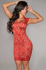 Lace Nude Illusion Dress - Available in Red & Black