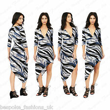 Ladies Women's Blue Printed Asymmetric Ruched 3/4 Sleeve V Neck Bodycon Dress