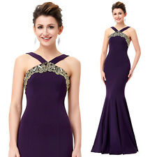 Bridesmaid Mermaid PURPLE Dress Long Ball Gown Evening Prom Party Prom Dresses