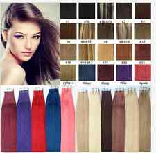 """100% Indian Remy PU Tape In Skin Weft Human Hair Extensions 16""""-24Inch 20Pcs New"""