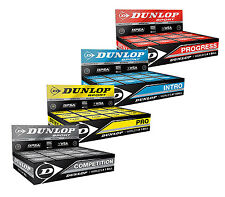 Dunlop Squash Balls Pro Double Dot Yellow - Competition Red Progress Intro Blue