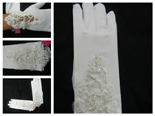 New Girls Wrist Length Stretchy Satin Glove>White>Communion/Baptism/Wedding Size