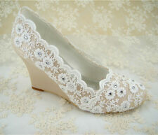 Vintage Champagne Wedge Bridal Shoes Crystal Lace Satin Wedding Shoes US 4.5-10