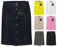 New Womens Ladies Mini Front A-Line Pocket Button Casual Skirt Size 6-12