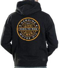 GENUINE MOTOR OIL HOODED SWEAT SHIRT ~ Biker Hoodie ~ Born Free, Ride Free
