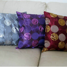Satin Silk Sequin Circles Cushion Cover Covers Embroidered