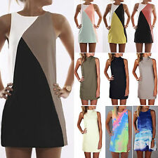 Summer Women's Casual Sleeveless Beach Sundress Party Mini Tunic Dress Long Top