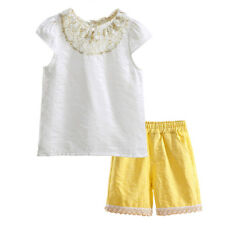 Girls Cap Sleeve Shirt Top and Yellow Shorts Set Kids Summer Clothes Outfit