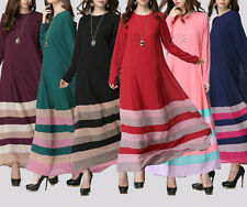 Muslim Dress Kaftan Abaya Jilbab Islamic Women Stripe Long Sleeve Maxi Dress