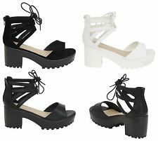New Womens Ladies Open Toe Lace Up Mid Heel Chunky Sandals UK Size 3-8