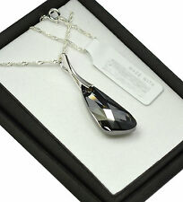 925 Sterling Silver Necklace made with Swarovski Crystals *Silver Night* Wing