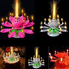 Musical Lotus Romantic Flower Rotating Happy Birthday Party Gift Candle Light