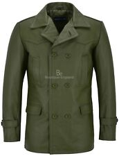 Men's Cowhide Real Leather Coat Khaki WW2 Inspired Double Breasted Style Dr Who