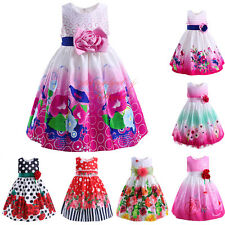 Girls Flower Party Dress Kids Floral Princess Holiday Pageant Age 3 4 5 6 7 8