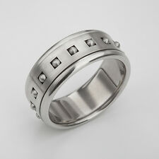 Unique Men's Spin Ring, Anxiety Band, Stainless Steel Women's Spinner 6.75 - 11