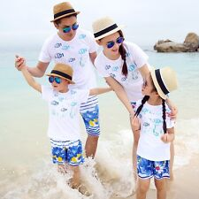 NEW Family holiday mother girls father Boys t shirts pants fishTops shorts sets