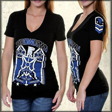 Throwdown Squadron Eagle Stars UFC MMA Athletic Women V Neck T-Shirt Black S M L