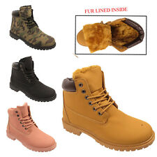 WOMENS GRIP SOLE WINTER  ARMY COMBAT  FUR LINED LADIES SNOW ANKLE BOOTS SHOES