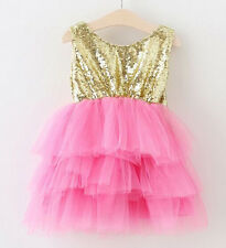 Baby Little Girls Sequin Dress Birthday Party Flower Girl Lace Cake Bow Dresses