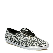 Vans Womens Trainers Suede Lace Up Authentic Lo Pro Leopard Grey Pink Casual