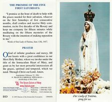 CATHOLIC HOLY CARD   THE PROMISE OF THE FIVE FIRST SATURDAYS