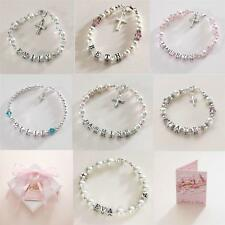 Sterling Silver Personalised Christening Bracelets for Girls with Any Girls Name
