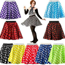ADULT POLKA DOT SKIRT & SCARF ROCK AND ROLL 50s FANCY DRESS HEN PARTY