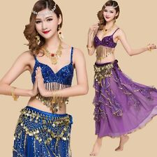 New Belly Dance Costume 2 or 3 pics Bra Top & Skirt with Coins Bollywood Dress