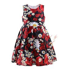 Girls Summer Flower Dress Kids Floral Holiday Pageant Dresses 3 4 5 6 7 Years