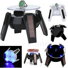 Solar Power 360° Jewelry Phone Watch Rotating Display Stand Turn Table LED Light