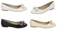 New Womens Ladies Dolly Flats Ballerina Diamante Bow Slip On Shoes 3-8
