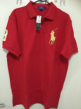 BNWT Men Cotton Polo T-Shirt RALPH LAUREN Big Pony Red with Gold Pony